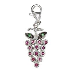 La Preciosa Sterling Silver Red and Green CZ Grape Charm