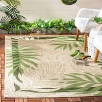 "Safavieh Poolside Cream/ Green Indoor Outdoor Rug - 5'-3"" x 7'-7"""