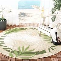 """Safavieh Poolside Cream/ Green Indoor Outdoor Rug - 6'7"""" x 6'7"""" round"""