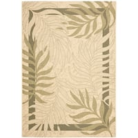 Safavieh Poolside Cream/ Green Indoor Outdoor Rug - 8' X 11'