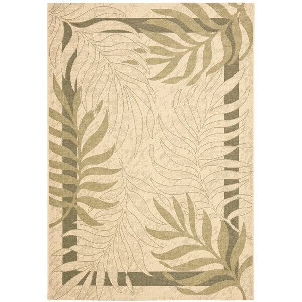 Safavieh Poolside Cream/ Green Indoor Outdoor Rug - 9' x 12'