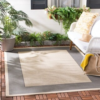 "Safavieh Poolside Gray/Cream Indoor/Outdoor Polypropylene Rug (4' x 5'7"")"