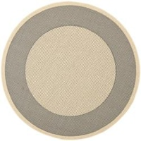 "Safavieh Poolside Gray/Cream Circular Indoor/Outdoor Rug - 5'3"" x 5'3"" round"