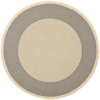 "Safavieh Poolside Gray/Cream Circular Indoor/Outdoor Rug (5'3"" Round)"