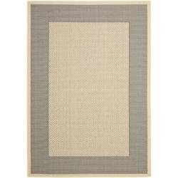 "Safavieh Poolside Gray/Cream Indoor/Outdoor Polypropylene Rug (6'7"" x 9'6"")"