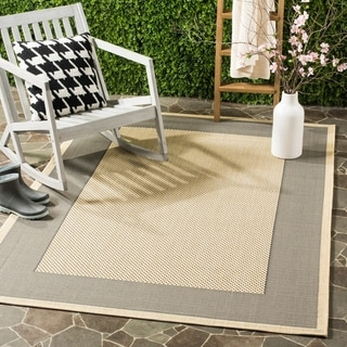 Safavieh Poolside Gray/Cream Indoor/Outdoor Polypropylene Rug - 6'7' x 9'6'