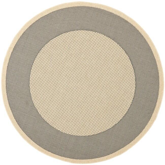 """Safavieh Poolside Grey/ Cream Indoor Outdoor Rug - 6'7"""" x 6'7"""" round"""