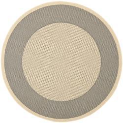 "Safavieh Poolside Grey/ Cream Indoor Outdoor Rug - 6'7"" x 6'7"" round - Thumbnail 0"