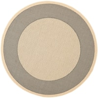 "Safavieh Poolside Grey/ Cream Indoor Outdoor Rug - 6'7"" x 6'7"" round"