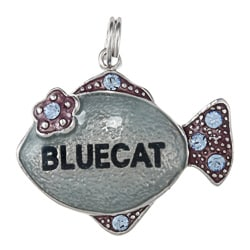 La Preciosa Sterling Silver Enamel and CZ 'Bluecat' Fish Charm