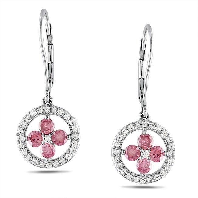 Miadora 10k White Gold 1ct TDW Pink and White Diamond Earrings