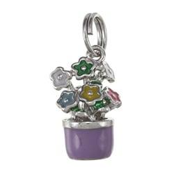 La Preciosa Sterling Silver Enamel Flowerpot Charm