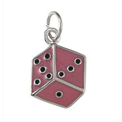 La Preciosa Sterling Silver Red and Black Enamel Dice Charm