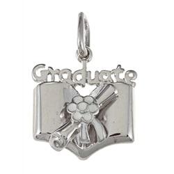 La Preciosa Sterling Silver White Enamel Flower 'Graduate' Diploma Charm