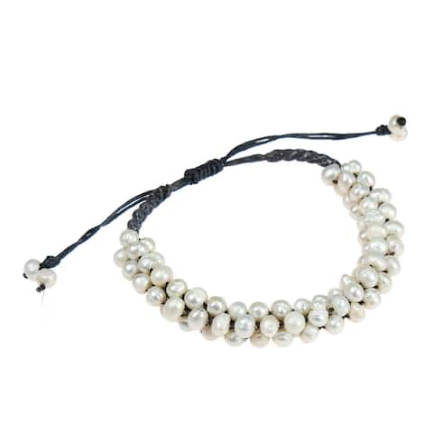 Handmade Freshwater Pearls Cluster White Bloom Cotton Rope Bracelet (Thailand)