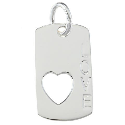 La Preciosa Sterling Silver 'Love' and Heart Dog Tag Charm