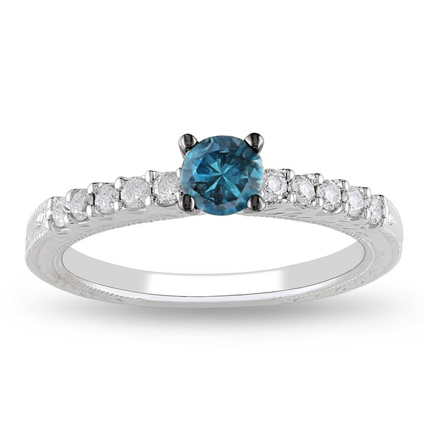 Miadora 10k White Gold 1/2ct TDW Blue and White Diamond Ring