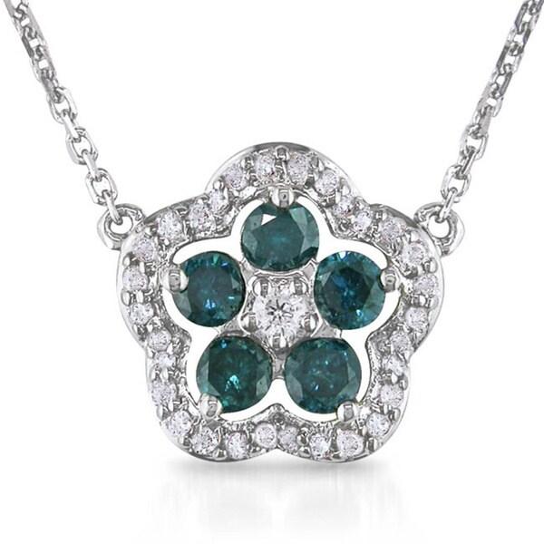 Miadora 14k White Gold 1/2ct TDW Blue and White Diamond Necklace