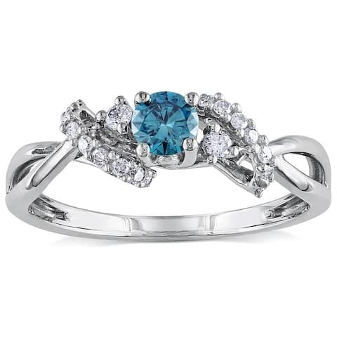 Miadora 10k White Gold 3/8ct TDW Blue and White Diamond Ring