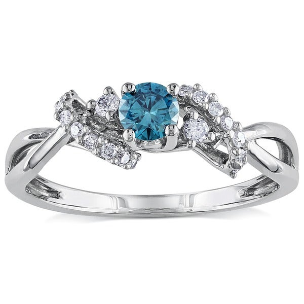 Miadora 10k White Gold 3/8ct TDW Blue and White Diamond Ring