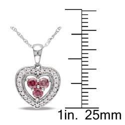 Miadora 10k White Gold 1/3ct TDW Pink and White Diamond Necklace