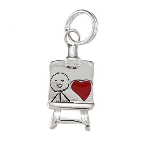 La Preciosa Sterling Silver Red Enamel Heart Easel Charm. Opens flyout.