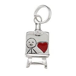 La Preciosa Sterling Silver Red Enamel Heart Easel Charm