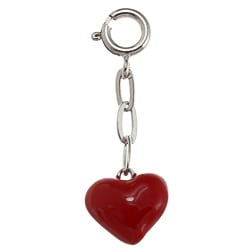 La Preciosa Sterling Silver Red Enamel Puffed Heart Charm