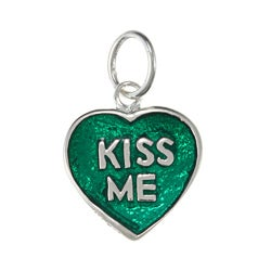 La Preciosa Sterling Silver Green Enamel 'Kiss Me' Heart Charm