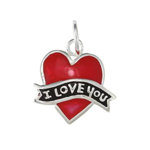 La Preciosa Sterling Silver Red Enamel 'I Love You' Heart Charm