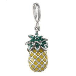 La Preciosa Sterling Silver Yellow and Green Enamel Pineapple Charm