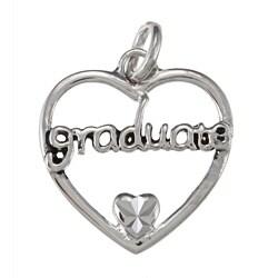 La Preciosa Sterling Silver 'Graduate' Open Heart Charm