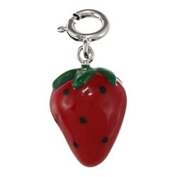 La Preciosa Sterling Silver Green and Red Enamel Strawberry Charm