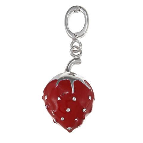 La Preciosa Sterling Silver Red Enamel Strawberry Charm