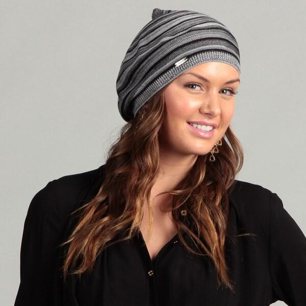 Calvin Klein Marled Striped Slouchy Beanie Hat