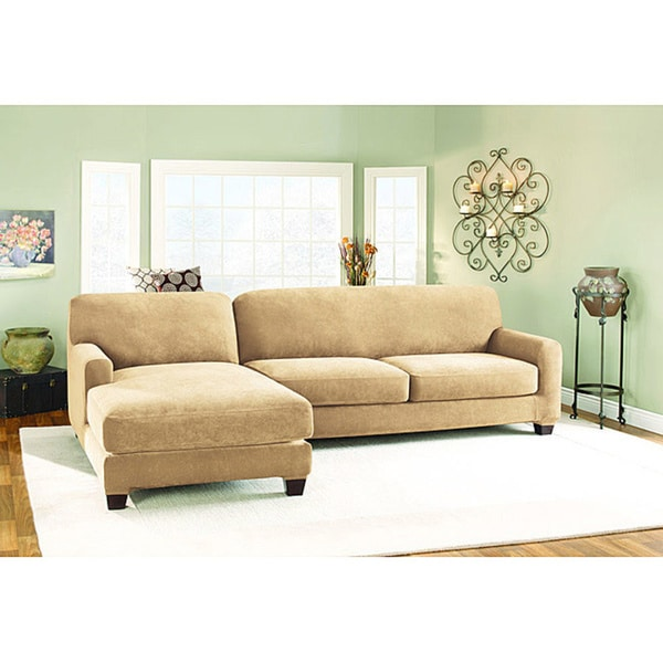 sure fit pique cream sectional with lefthand chase slipcover