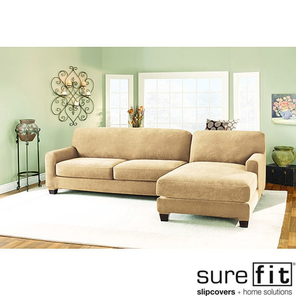 Shop Sure Fit Pique Cream Sectional With Chase Right Hand