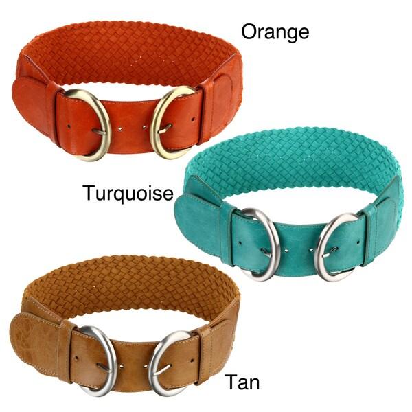 Steve Madden Women's Double Loop Thick Woven Belt