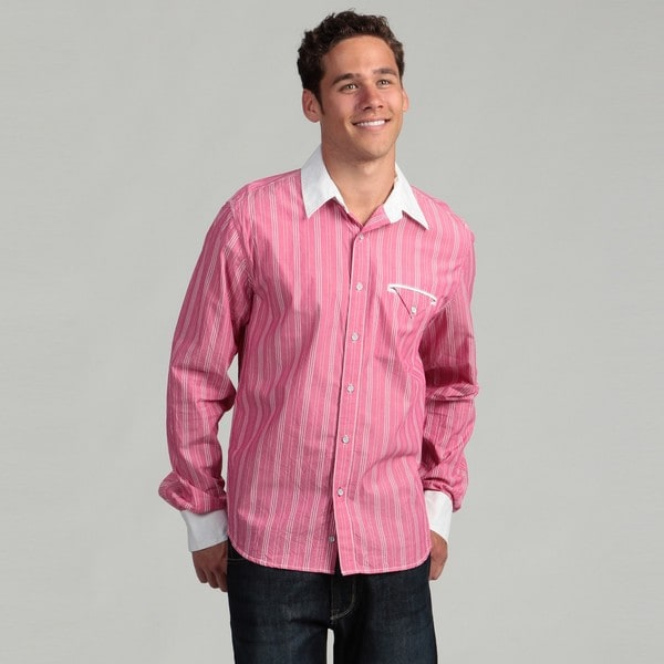 Vintage Red Men's Striped Woven Shirt
