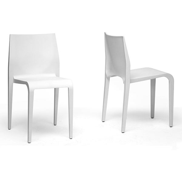 Blanche Modern White Molded Plastic Dining Chairs Set of 2