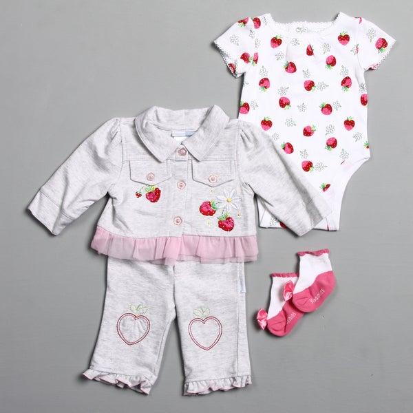 Vitamins Baby Newborn Girl's Strawberry Creeper Pant Set