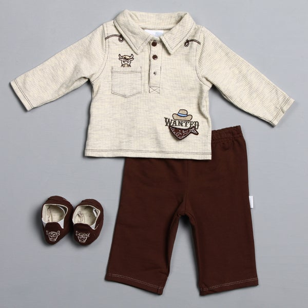 Vitamins Baby Newborn Boy's 'Wanted' 3-piece Pant and Shoe Set