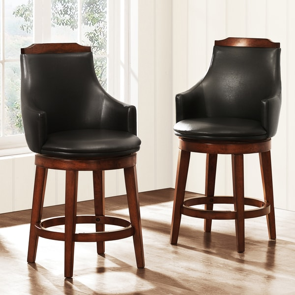 TRIBECCA HOME Elche 24-inch Walnut Swivel Chairs (Set of 2)