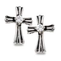 Stainless Steel Royal Cross Clear Cubic Zirconia Earrings - White