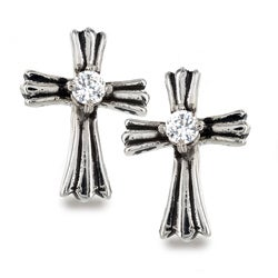 Stainless Steel Royal Cross Clear Cubic Zirconia Earrings - White