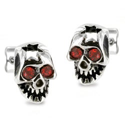 Stainless Steel Red Cubic Zirconia Cracked Skull Earrings