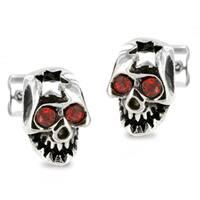 Stainless Steel Red Cubic Zirconia Cracked Skull Earrings - White