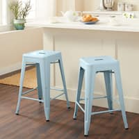 Carbon Loft Fowler 24-inch Blue Counter Stool (Set of 2)