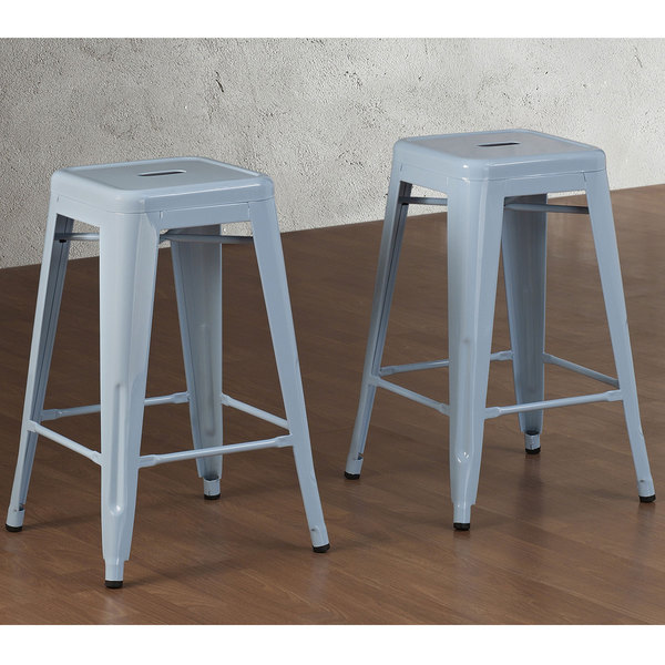 Tabouret 24 Inch Blue Counter Stool Set Of 2