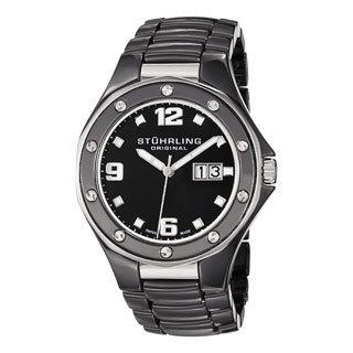 Stuhrling Original Men's Apocalypse Noir Swiss Made Black Quartz Ceramic Watch